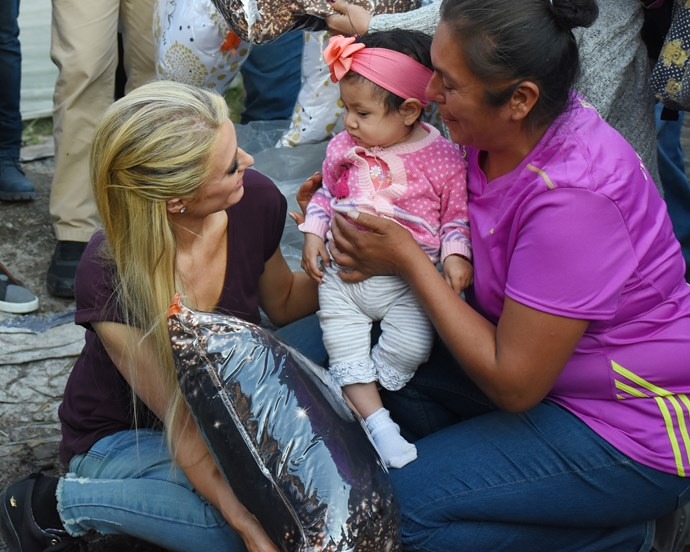 Hilton in Mexico visiting earthquake victims earlier this month.