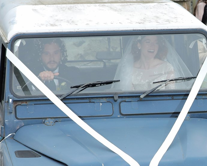 Harington and Leslie leaving their Scotland wedding in June 2018.