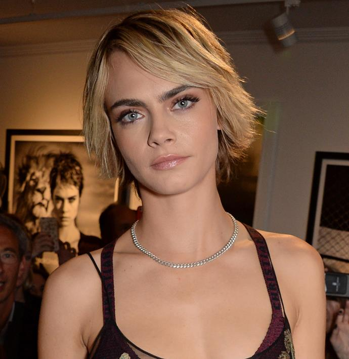 **The grown-out pixie:** Don't be scared by the in-between phase that comes with growing out a pixie cut—Cara Delevingne is proof it can look elegant, feminine and full of volume.