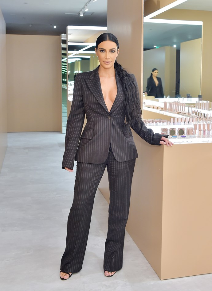 Kim Kardashian at her pop-up in Costa Mesa on December 4, 2018.