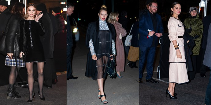 From left: Lily-Rose Depp, Teresa Palmer and Marion Cotillard arrive at the Chanel Metiers d'Art show.