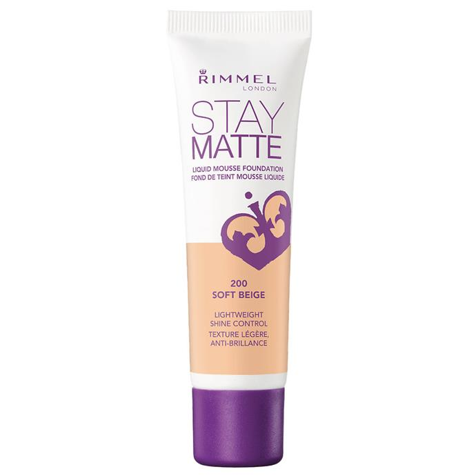 """Staying soft while avoiding that greasy feeling, Rimmel's option is the perfect everyday foundation.<br><bR> Stay Matte Liquid Mousse Foundation by Rimmel, $7.47 at [Priceline](https://www.priceline.com.au/rimmel-stay-matte-liquid-mousse-foundation-30-ml