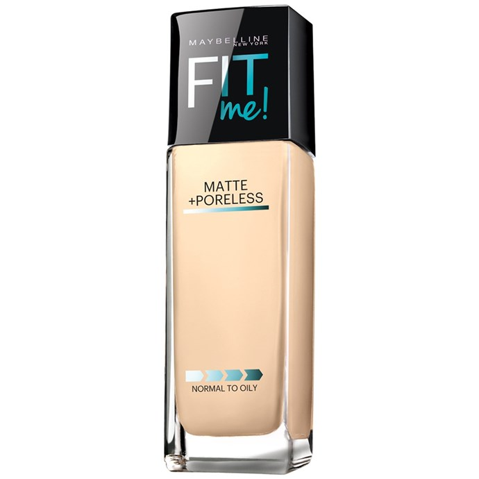 "An affordable option, Maybelline's Fit Me! feels great on the skin.<br><br> Fit Me! Matte + Poreless Foundation by Maybelline, $21.95 at [Priceline](https://www.priceline.com.au/maybelline-fit-me-matte-poreless-foundation-30-ml|target=""_blank""