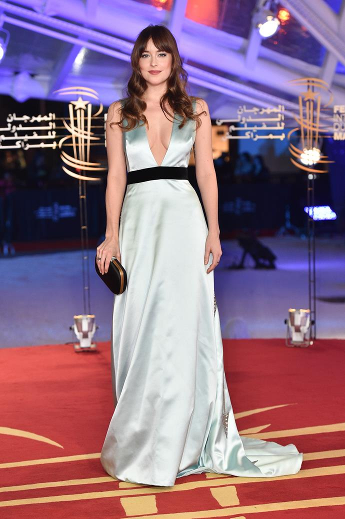Wearing heavenly custom Gucci at the Marrakech International Film Festival.