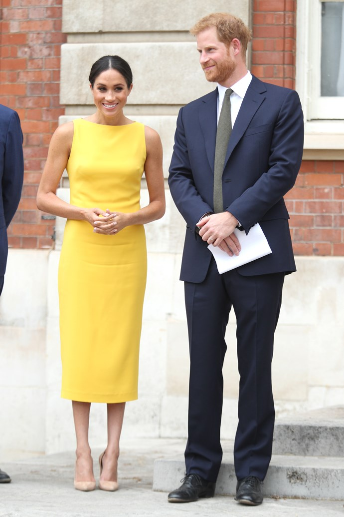 ***Your Commonwealth Youth Reception***<br><br> Dress by Brandon Maxwell: $2,032<br> Earrings by Adina Reyter: $678<br> Shoes by Manolo Blahnik: $849<br><br> *Total:* $3,559