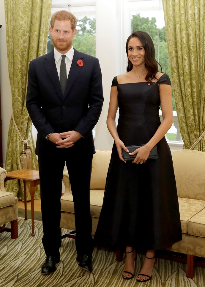 ***Reception Hosted by New Zealand Governor General***<br><br> Dress by Gabriela Hearst: $3,461 <br> 'Nudist' sandals by Stuart Weitzman: $725 <br> Maori Necklace by Simon James Design: $16,614<br> Snowflake Jacket Earrings by Birks: $9,278<br><br> *Total:* $30,078