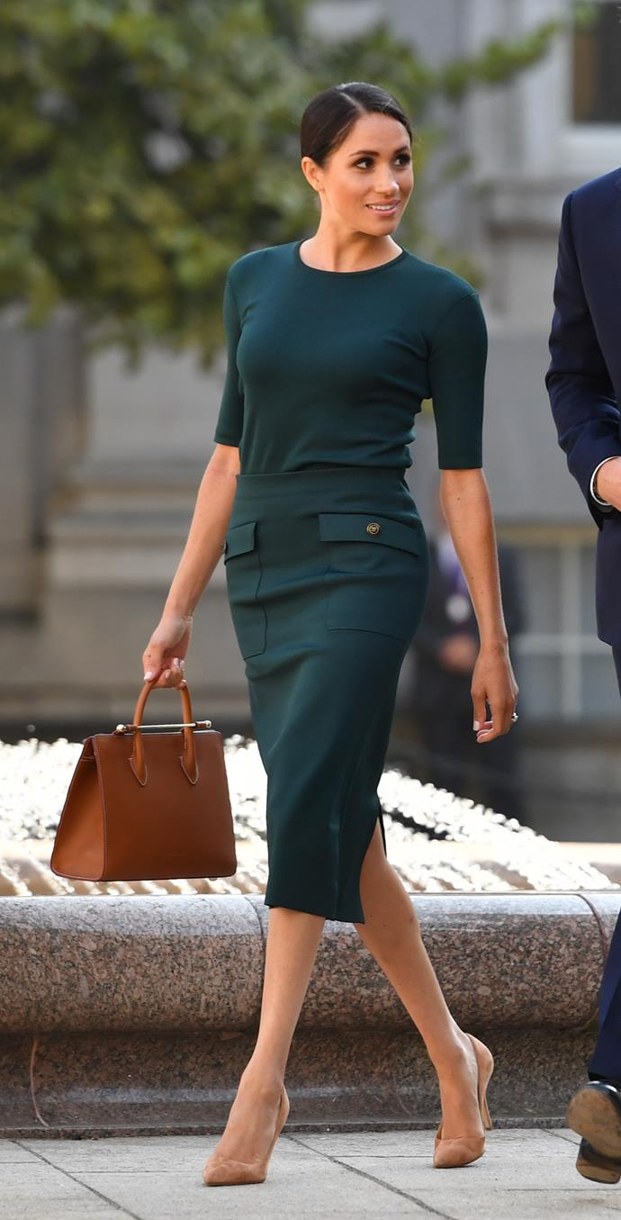 ***Dublin reception***<br><br> Top and skirt by Givenchy: $2,159<br> Bag by Strathberry: $831<br> Shoes by Paul Andrew: $848<br> Earrings by Vanessa Tugendhaft: $1,188<br><br> *Total:* $5,026