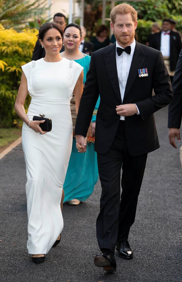 ***Gala with the King and Queen of Tonga***<br><bR> Custom Theia gown: $1,500 <br> Satin clutch with jewellery clasp by Givenchy: $2,650 <br> 'Deneuve' pumps by Aquazzura: $849 <br><br> *Total:* $4,999