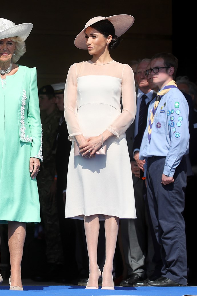 ***Prince of Wales birthday garden party***<br><br> Dress by Goat: $988<br> Earrings by Vanessa Tugendhaft: $2,499<br> Shoes by Tamara Mellon: $611<br> Hat by Philip Treacy: $2,719<br> Clutch by Wilbur & Gussie: $357<br><br> *Total:* $7,174