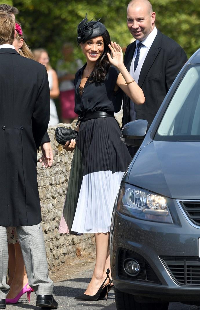***Charlie van Straubenzee's society wedding***<bR><br> Dress by Club Monaco: $446<br> Shoes by Aquazurra: $1,089<br> Clutch by Kayu: $306<br> Earrings Vanessa Tugendhaft: $1,849<br> Bracelet by Shaun Leane: $1,850<br> Belt by Miu Miu: $330<br> Sunglasses by Linda Foster: $1,402<br><br> *Total:* $7,272