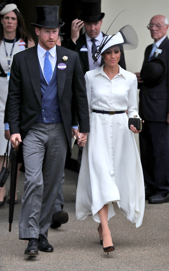 ***Royal Ascot 2018***<br><bR> Dress by Givenchy: $3,097<br> Belt by Givenchy: $540<br> Shoes by Balenciaga: $1,247<br> Earrings by Birks: $2,355<br> Clutch by Givenchy: $2,425<br> Hat by Philip Treacy: $916<br><br> *Total:* $10,580