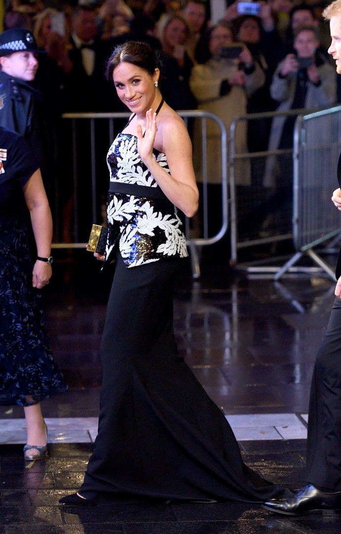 ***Royal Variety Performance***<br><br> Top by Safiyaa: $1,580<br> Skirt by Safiyaa: $1,051<br> 'Simply Irresistible' pumps by Aquazzura: $1,086<br> 'Snowflake' earrings by Birks: $12,499<br><br> *Total:* $16,216