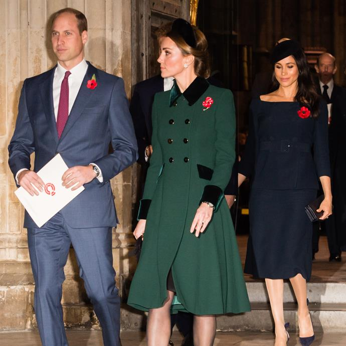 William and Kate with Harry and Meghan on Remembrance Day in November 2018.