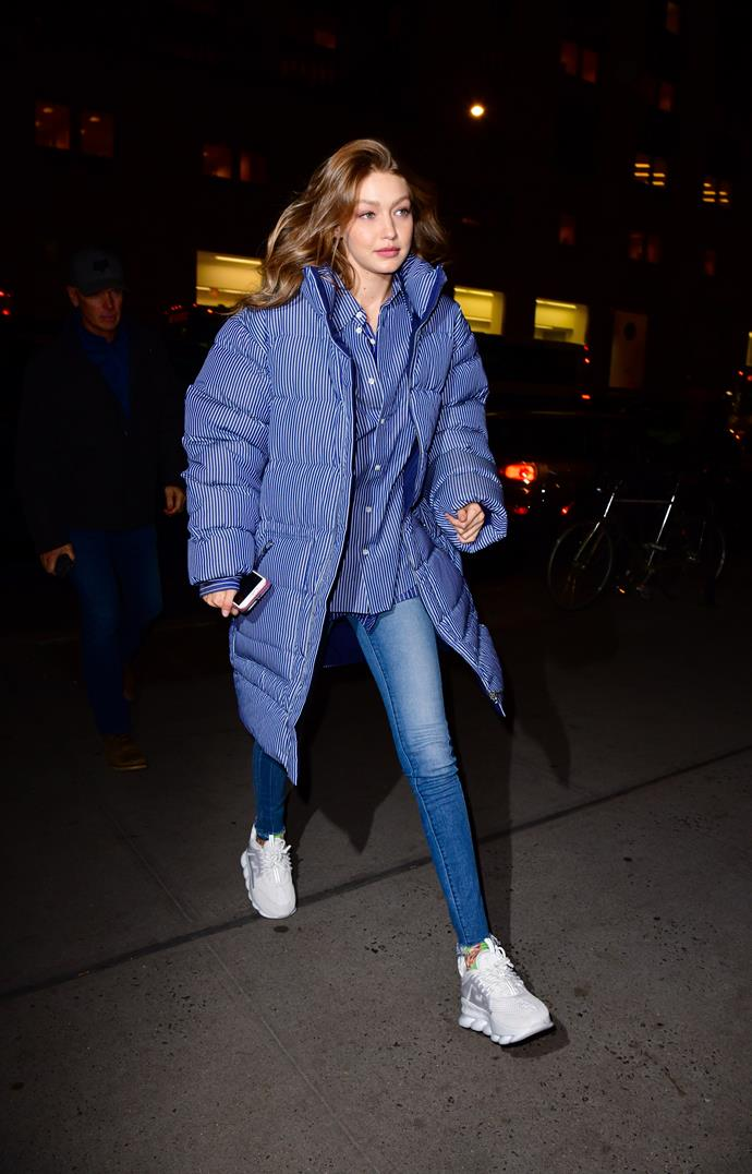 Gigi Hadid rugged up on a chilly evening in New York City on December 10, 2018.