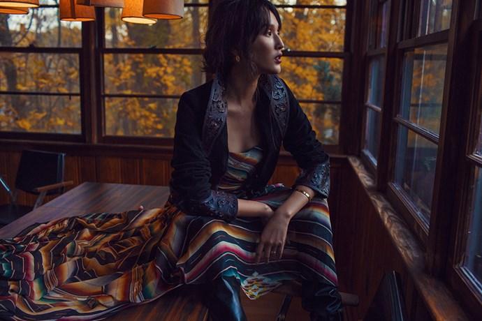 Warne wears Look 17 from the Ralph Lauren S/S '13 collection.