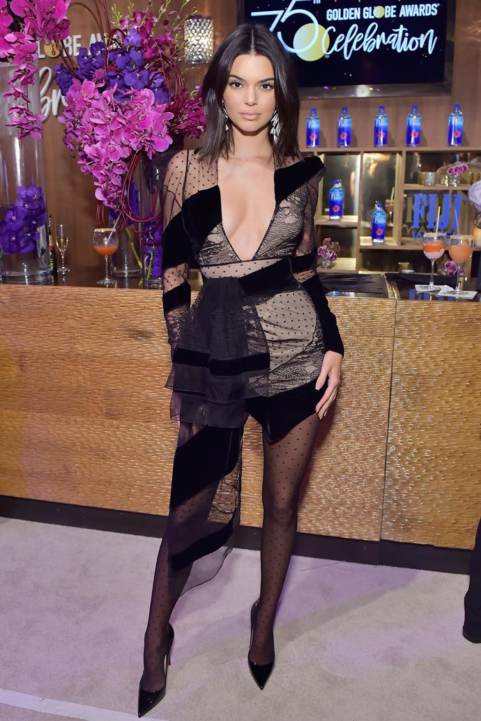 In Alexandre Vauthier at a Golden Globes after-party, January 2018.