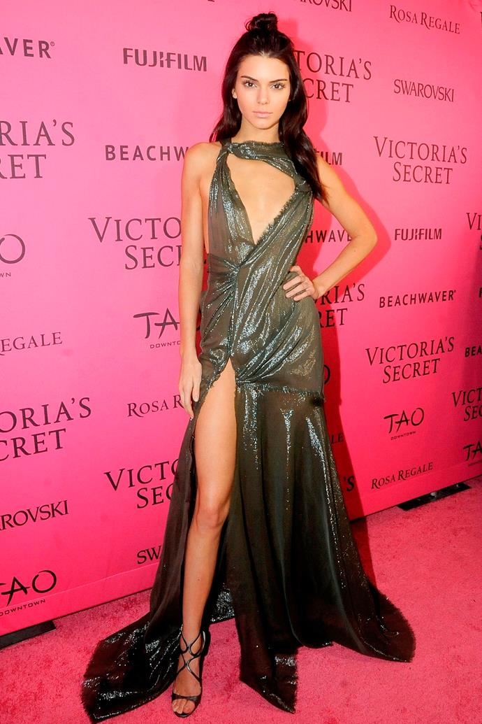 In Versace at the Victoria's Secret Fashion Show after-party, November 2015.