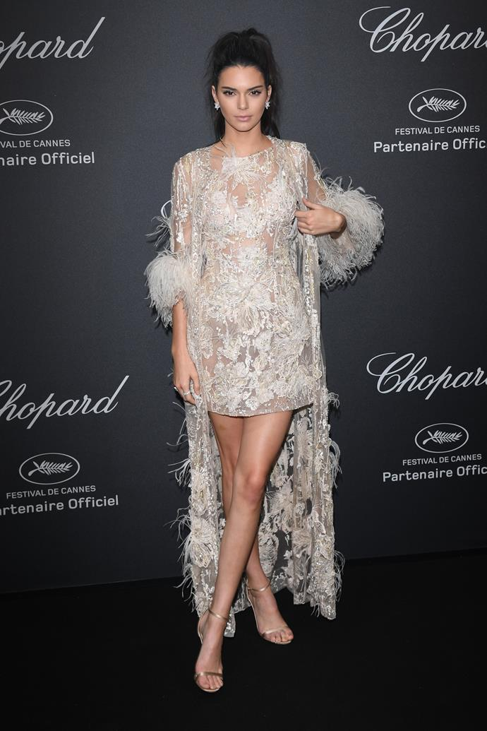 In an Elie Saab Couture dress and matching coat at the Cannes Film Festival, May 2016.