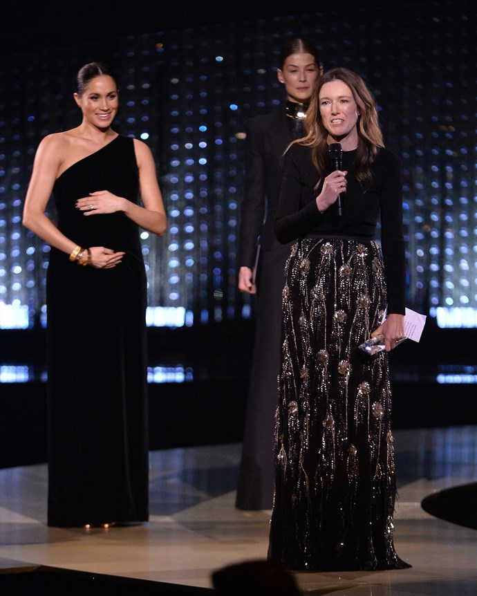 Meghan, Duchess of Sussex with actress Rosamund Pike and Givenchy creative director Clare Waight Keller at the British Fashion Awards on December 10, 2018.