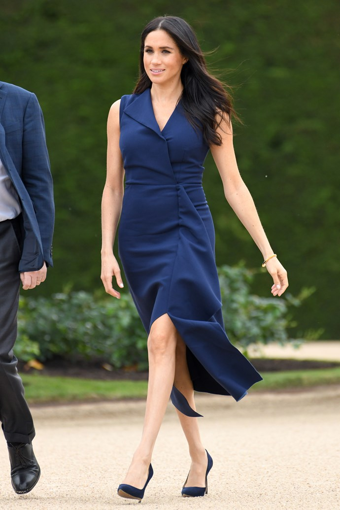 ***Manolo Blahnik 'BB' Suede Pumps*** <br><br> Arguably her favourite shoes of the bunch, Meghan has been spotted on multiple occasions wearing these durable Manolo Blahnik pumps, which she likely favours for their versatility and royal-appropriate style (not to mention Blahnik's famous craftsmanship).