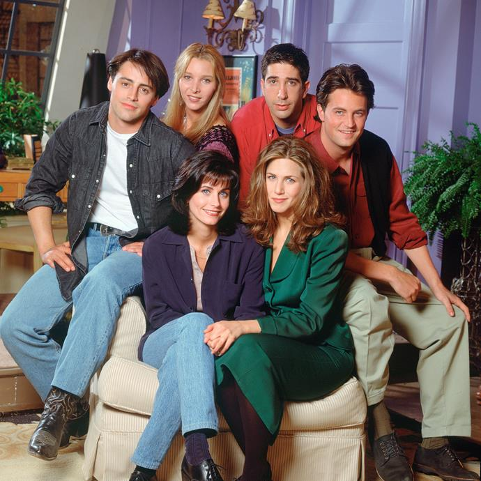 The ensemble cast of *Friends* photographed in 1994.