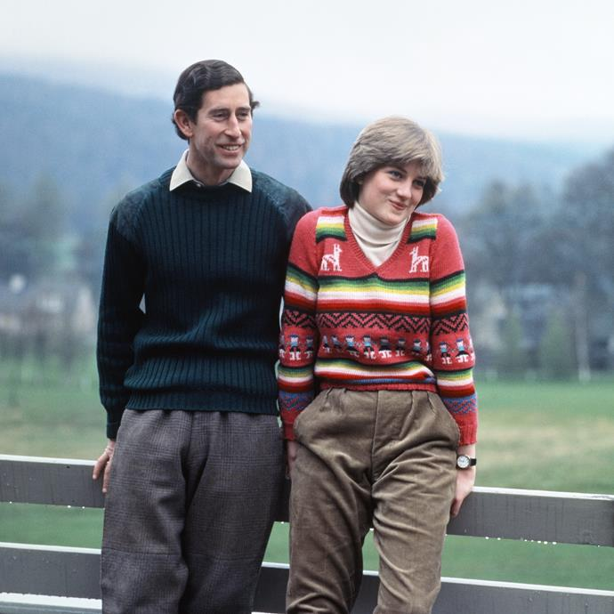 Prince Charles and his then-fiancée Diana, Princess of Wales at Balmoral in Scotland during their engagement, May 1981.