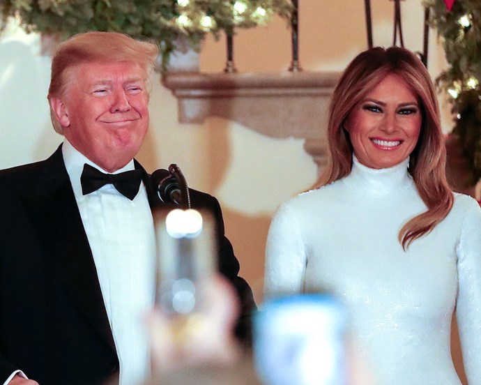 US First Lady Melania Trump pictured with her husband, US President Donald Trump, at the 2018 White House Congressional Ball on December 15, 2018.