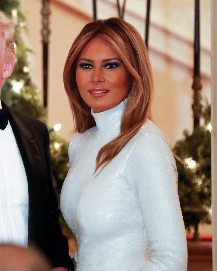 US First Lady Melania Trump at the 2018 White House Congressional Ball on December 15, 2018.