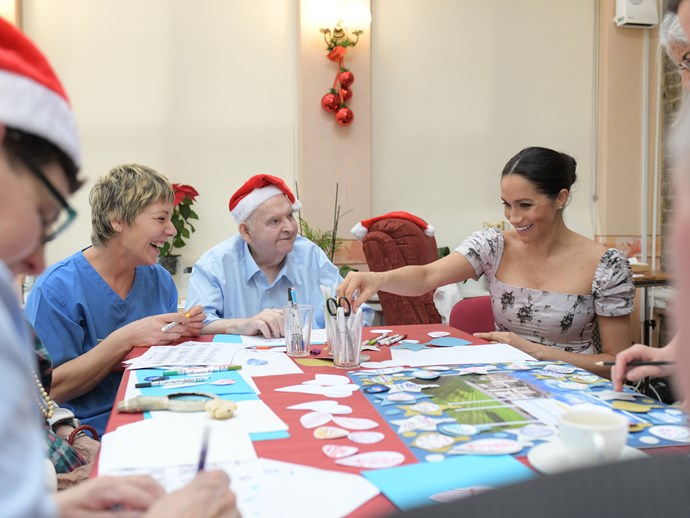 Meghan Markle visiting the Royal Variety Charity's nursing and care home in Twickenham on December 18, 2018.
