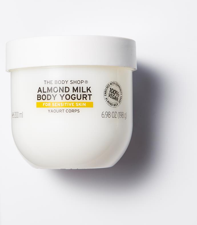 """**BEST BODY MOISTURISER: The Body Shop Almond Milk Body Yogurt**  <br><br> """"If the jar were any bigger, I would take a bath in it! The light gel-like formula feels soft and hydrates the skin for 48 hours. It's also a great budget buy and is 100 per cent vegan.""""- Laure Vandendaele, *ELLE Belgium*. <br><br> *Almond Milk Body Yogurt, $16, The Body Shop, [thebodyshop.com.au](https://www.thebodyshop.com/en-au/body-care/body-yogurts/almond-milk-body-yogurt/p/p002804
