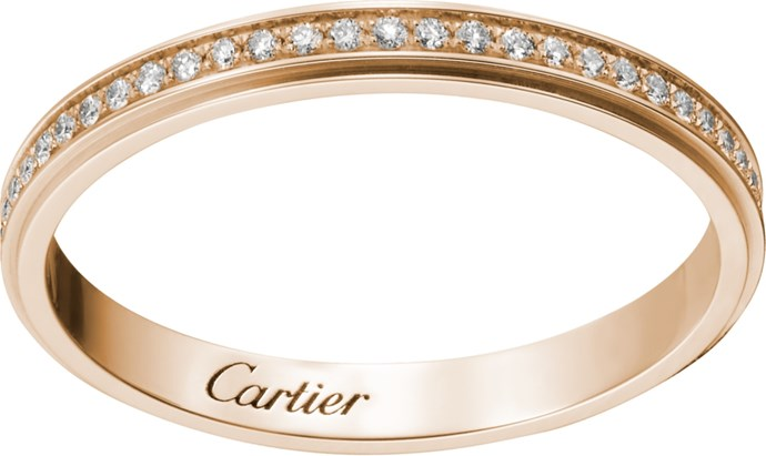 "Cartier D'Amour Wedding Ring, $4350, [Cartier](https://www.au.cartier.com/en-au/collections/jewelry/collections/diamond-collection/rings/b4093500-wedding-band.html|target=""_blank""