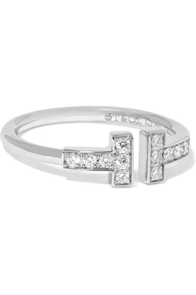 "Tiffany & Co T Wire 18-karat white gold diamond ring, $2750, [Tiffany & Co](https://www.net-a-porter.com/au/en/product/1029800?gclsrc=aw.ds&cm_mmc=Google-ProductSearch-AU--c-_-NAP_EN_AU_PLA-_-NAP+-+AU+-+GS+-+Designer+-+Class_Jewelry+-+Type_Hard+Lux%C2%A0-%C2%A0High%C2%A0-%C2%A0BT--Fine+Jewelry+-+Rings-_-__aud-534380308300:pla-486507539944_APAC&gclid=CjwKCAiAmO3gBRBBEiwA8d0Q4mJshNiyK-UB4zpPLjW2qlFwG2BhpEX4oOrghKc4Aj7s7ij9r9qjkBoCbucQAvD_BwE&gclsrc=aw.ds|target=""_blank""|rel=""nofollow"")."