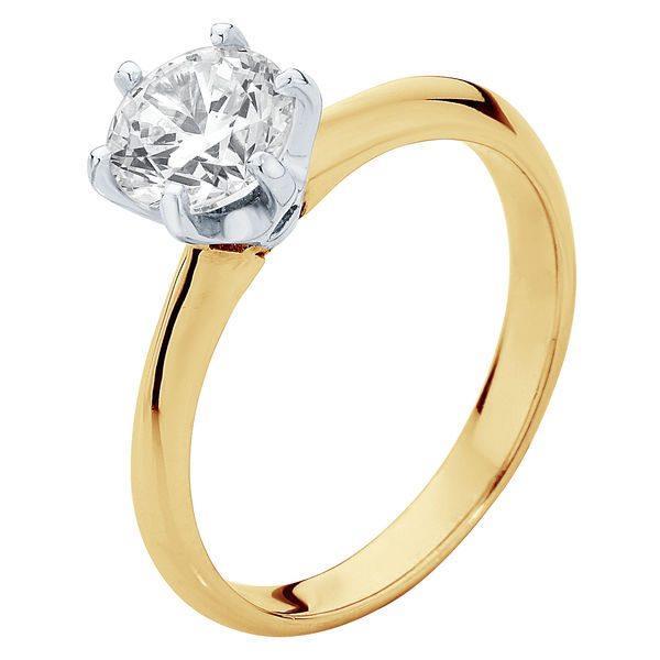 "Larsen Elegance ring, from $1490, [Larsen Jewellery](https://www.larsenjewellery.com.au/engagement-rings/yellow-gold/elegance-yellow-gold|target=""_blank""|rel=""nofollow"")."