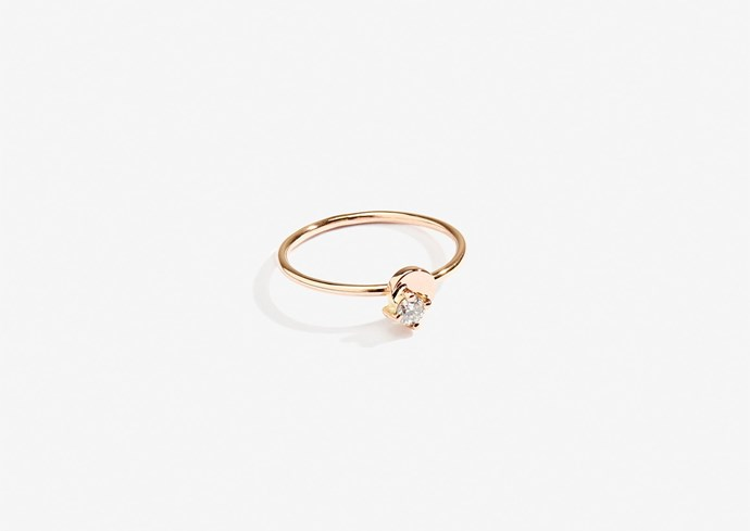 "Lucy Folk Jewel of the Nile ring, 18 karat rose gold, round cut, $525, [Lucy Folk](https://lucyfolk.com/products/jewel-of-the-nile-ring-18kt-rose-gold-round-cut|target=""_blank""