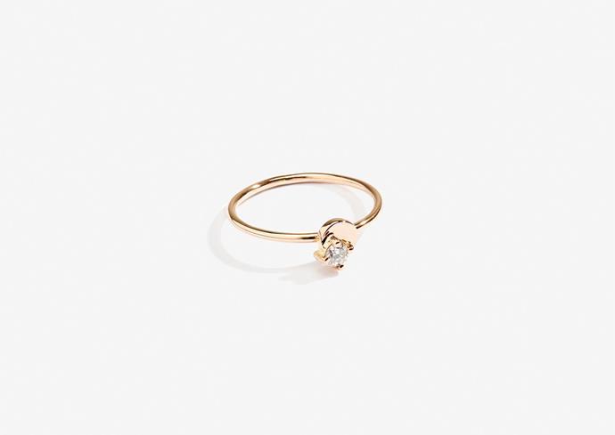 "Lucy Folk Jewel of the Nile ring, 18 karat rose gold, round cut, $525, [Lucy Folk](https://lucyfolk.com/products/jewel-of-the-nile-ring-18kt-rose-gold-round-cut|target=""_blank""|rel=""nofollow"")."