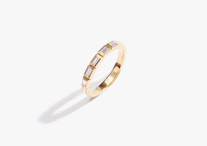 "Lucy Folk Crown wedding band, 18 karat yellow gold, $2500, [Lucy Folk](https://lucyfolk.com/products/crown-wedding-band-18kt-yellow-gold-sized-to-order|target=""_blank""