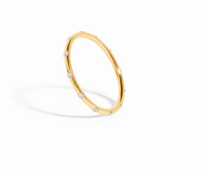 "Sarah & Sebastian Round 12 ring, $995, [Sarah & Sebastian](https://www.sarahandsebastian.com/products/round-band-12-diamond|target=""_blank""|rel=""nofollow"")."