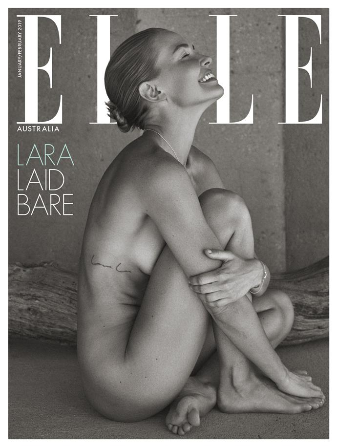 Worthington on *ELLE'*s special subscriber cover. *Photography by Darren McDonald.*