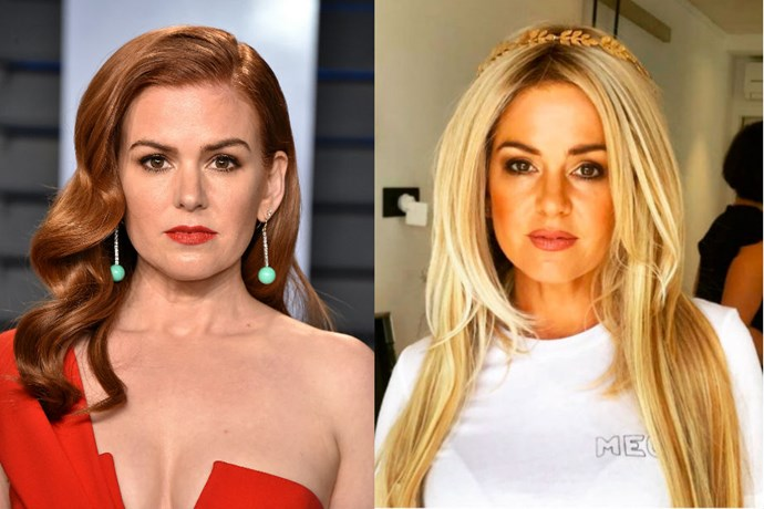 """**Isla Fisher** <br><br> """"Go blonde in '19 or go home,"""" Fisher captioned this photo of herself with golden tresses. It's a big departure for the eternal redhead, but it's unclear whether it's a wig or not."""