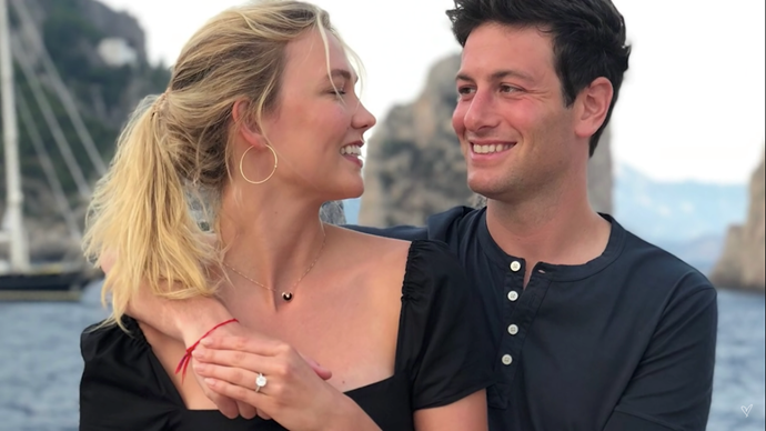 Kloss and Kushner shortly after getting engaged.