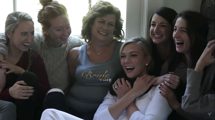 Kloss with her mother, sister and bridesmaids.