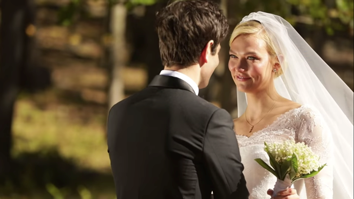 An emotional Kloss during their vows.