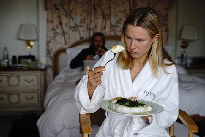 Kristen Bell fuels her body before the exhausting onslaught of hair and makeup.
