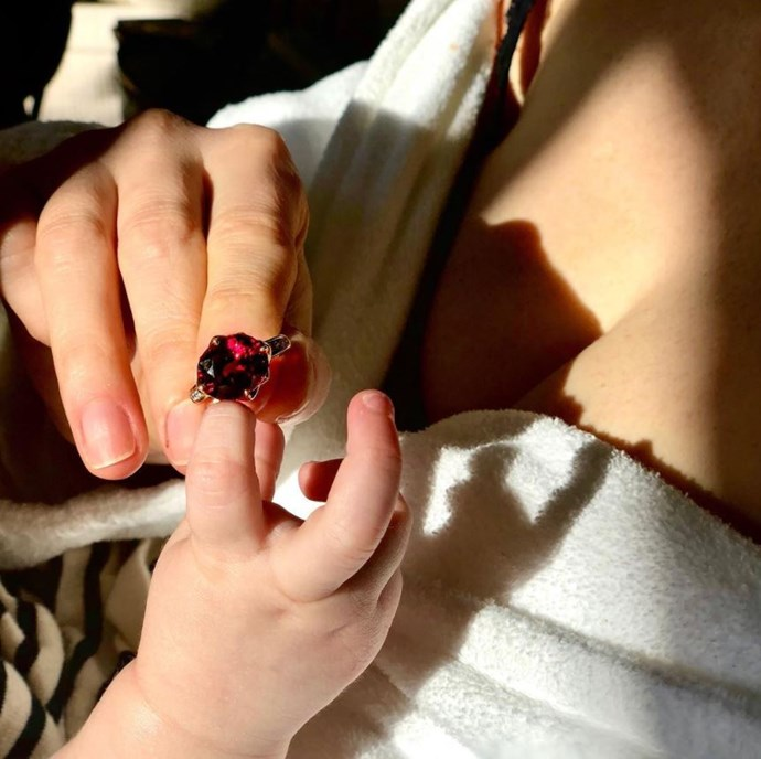 Jessica Chastain's daughter plays with her Piaget jewels.