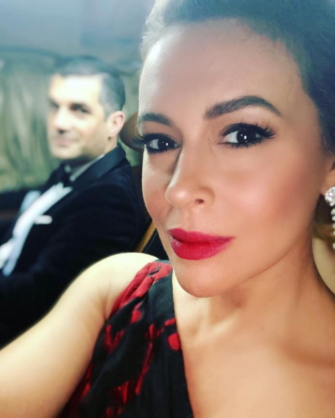 Alyssa Milano on the way to the red carpet.