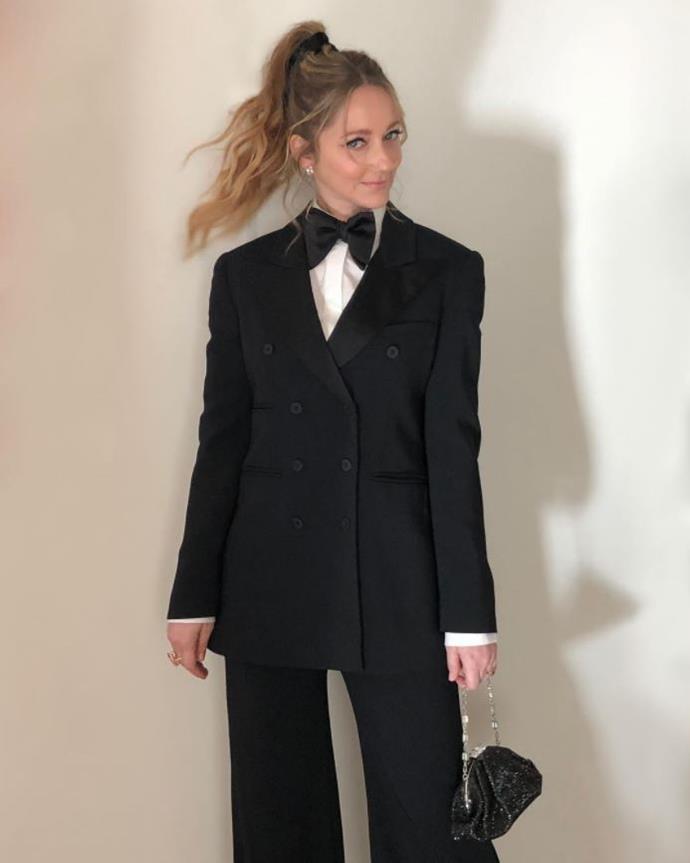 Judy Greer in an Alberta Ferreti look, styled by Karla Welch.
