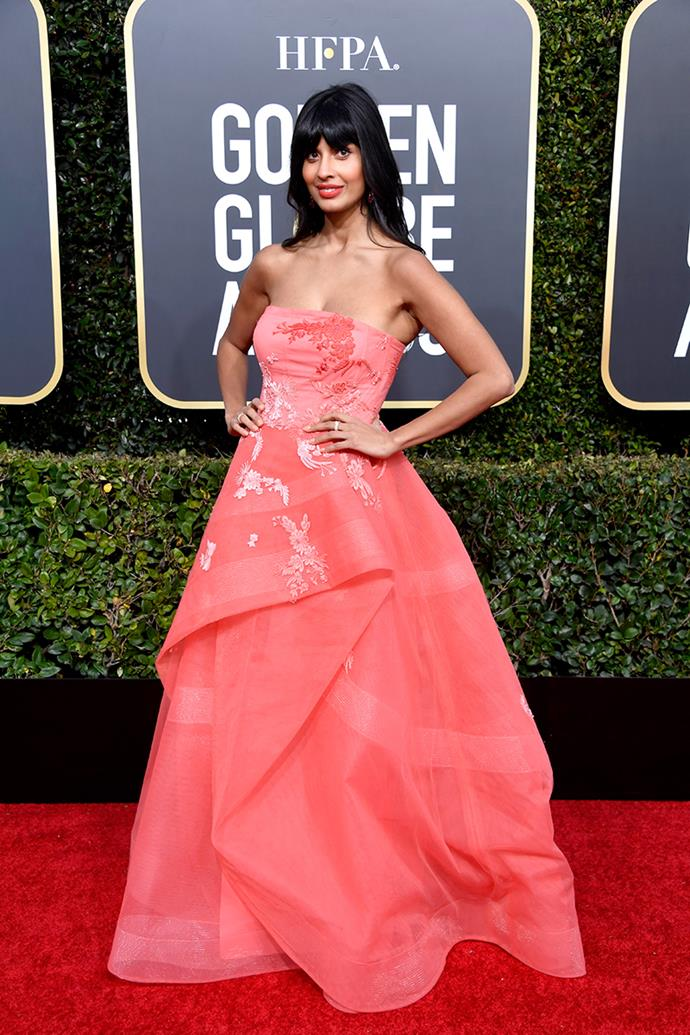 Jameela Jamil in Monique Lhuillier.