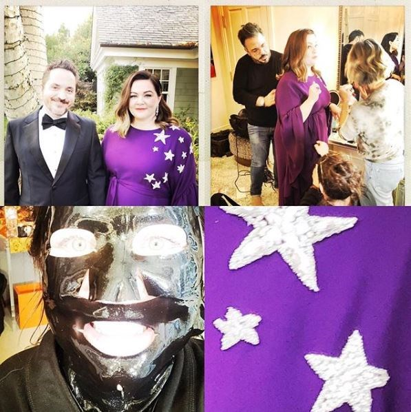 "Melissa McCarthy captioned this pic: ""It takes a village, a face mask, a hubby and a constellation!!!!"""