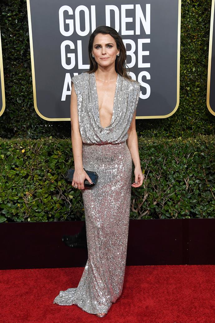 Keri Russell in Monique Lhuillier.
