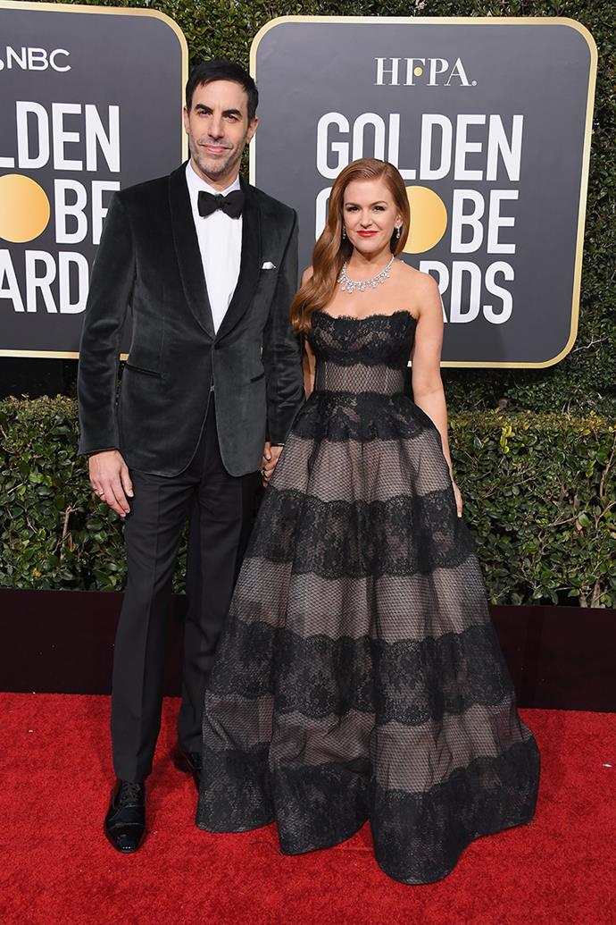Sacha Baron Cohen and Isla Fisher in Monique Lhuillier.